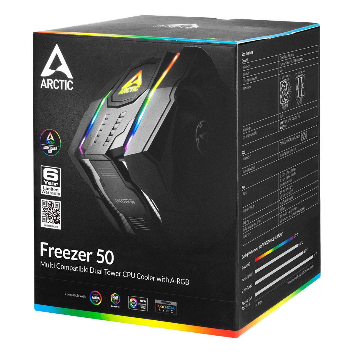 Multikompatibler Dual Tower CPU Kühler mit A-RGB ARCTIC Freezer 50 Produktverpackung Vorderansicht