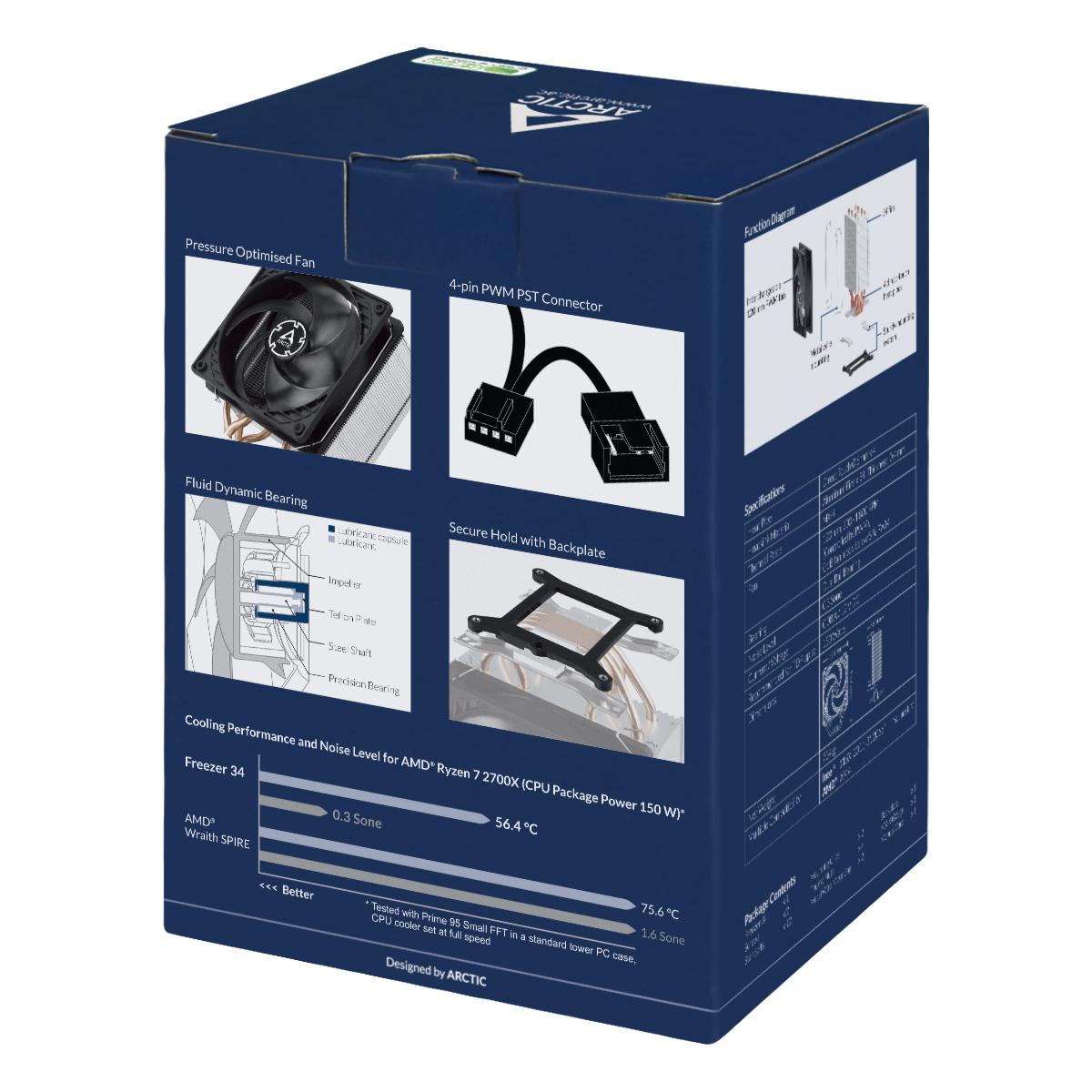 Tower CPU-Kühler mit 120 mm P-Lüfter ARCTIC Freezer 34 Produktverpackung Rückansicht