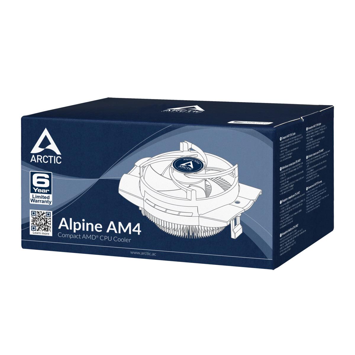 Kompakter AMD CPU-Kühler ARCTIC Alpine AM4 Produktverpackung Vorderansicht