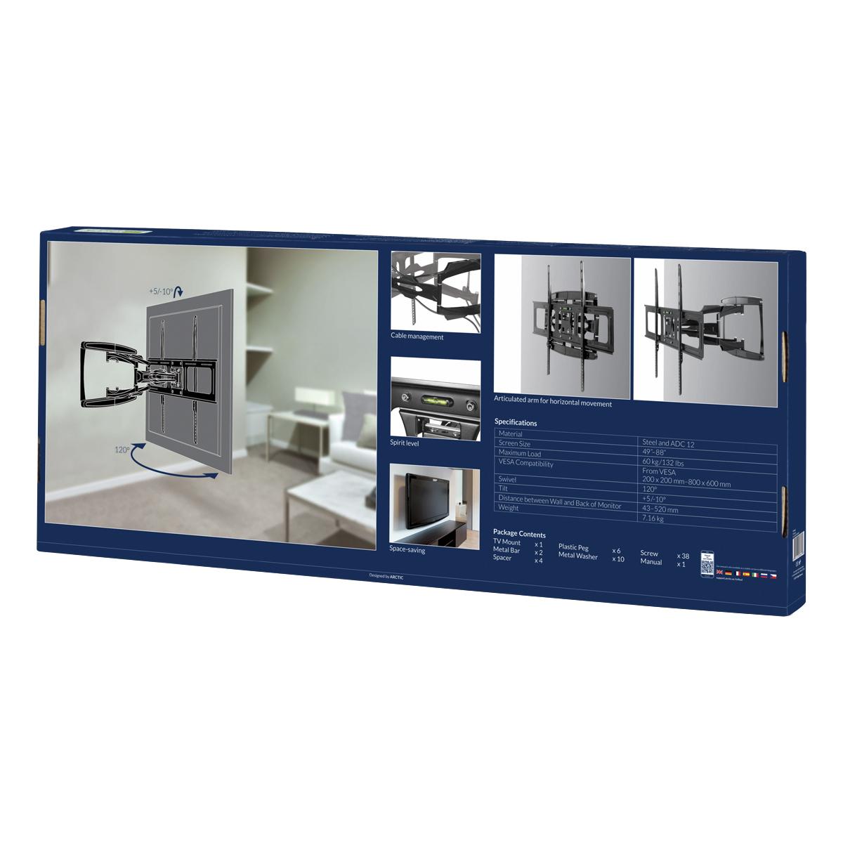 Vollbewegliche XL TV-Wandhalterung ARCTIC TV Flex L Produktverpackung Rückansicht