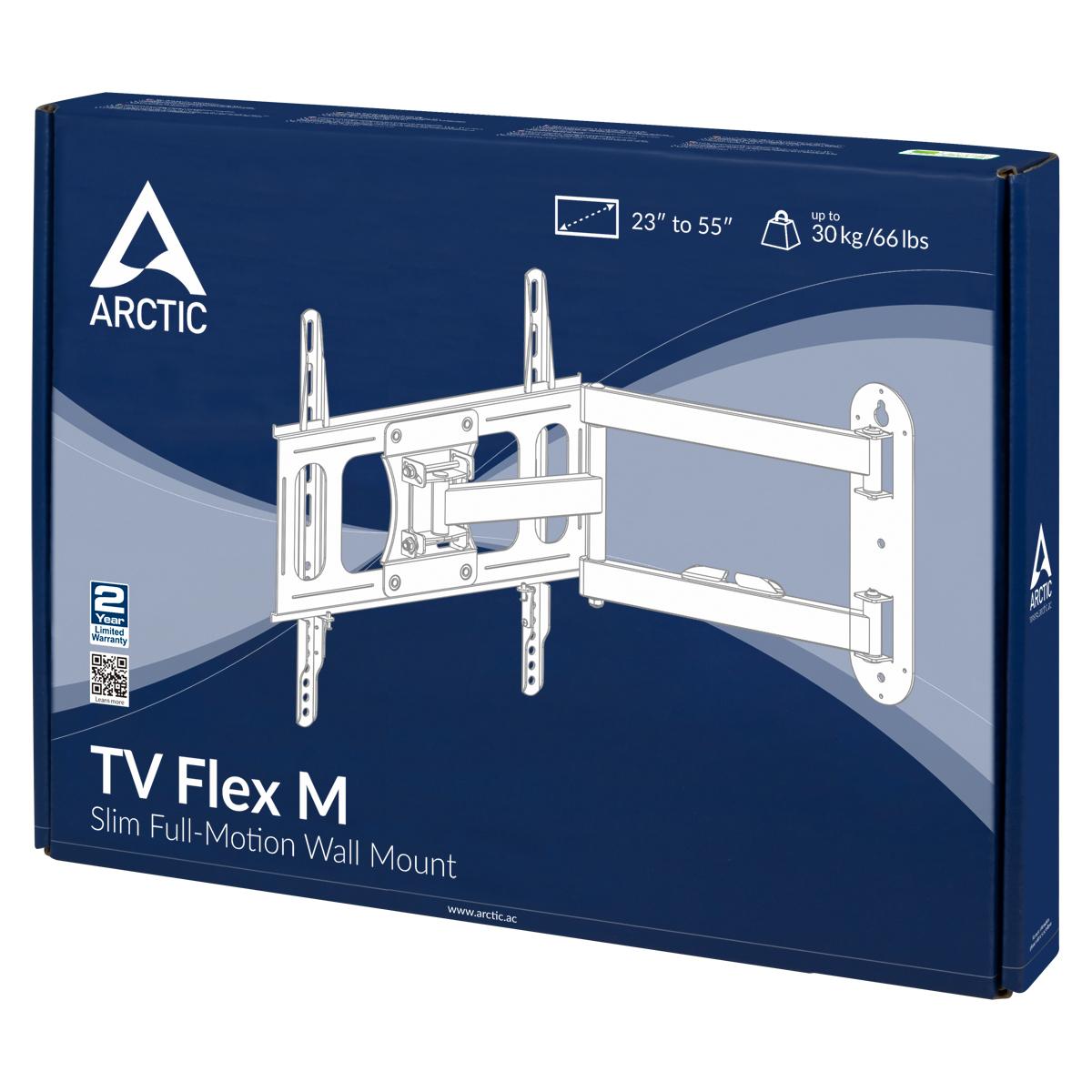 Vollbewegliche TV-Wandhalterung ARCTIC TV Flex M Produktverpackung Vorderansicht