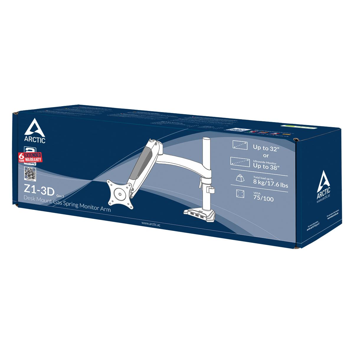 Monitorarm mit Gasfeder ARCTIC Z1-3D (Gen 3) Produktverpackung Vorderansicht