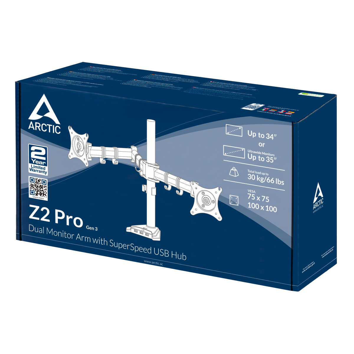 Desk Mount Dual Monitor Arm with SuperSpeed USB Hub ARCTIC Z2 Pro (Gen 3) Packaging Front View