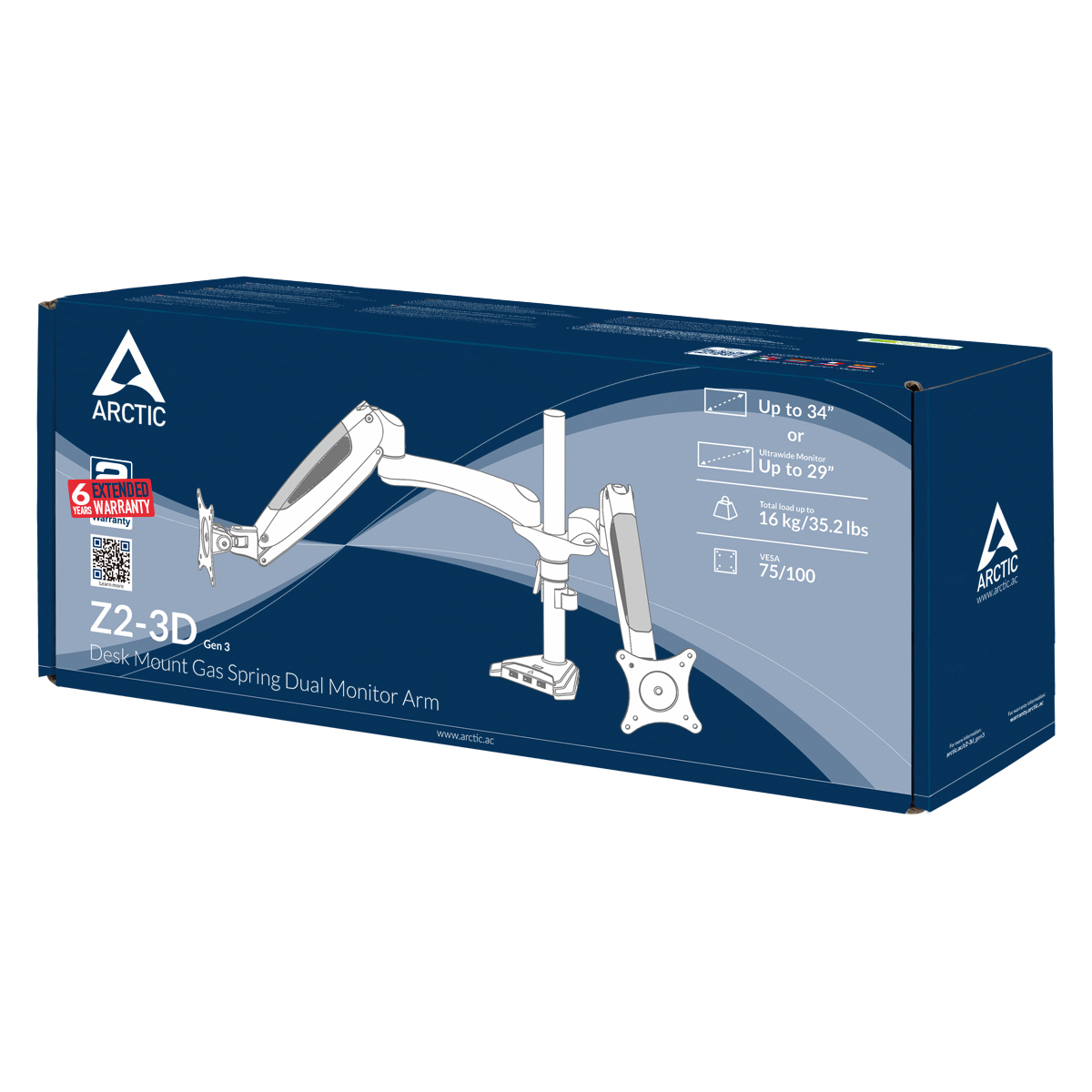 Desk Mount Gas Spring Dual Monitor Arm ARCTIC Z2-3D (Gen 3) Packaging Front View