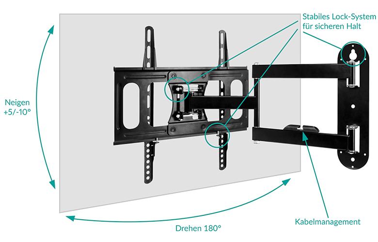 Flexible Ausrichtung mit vollbeweglicher TV-Wandhalterung ARCTIC TV Flex M – Drehbar, Schwenkbar, Neigbar