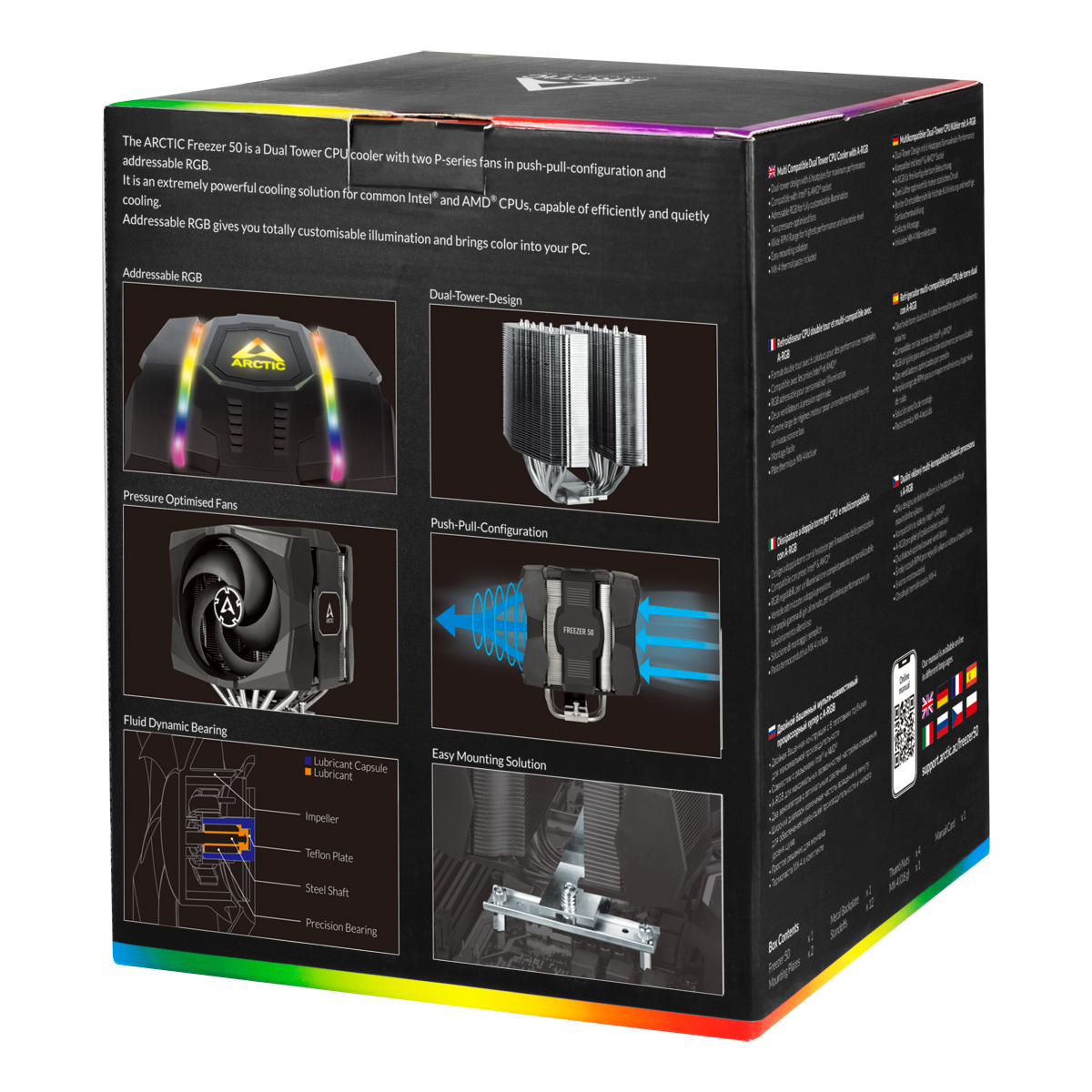 Multi Compatible Dual Tower CPU Cooler with A-RGB  ARCTIC Freezer 50 Packaging Rear View