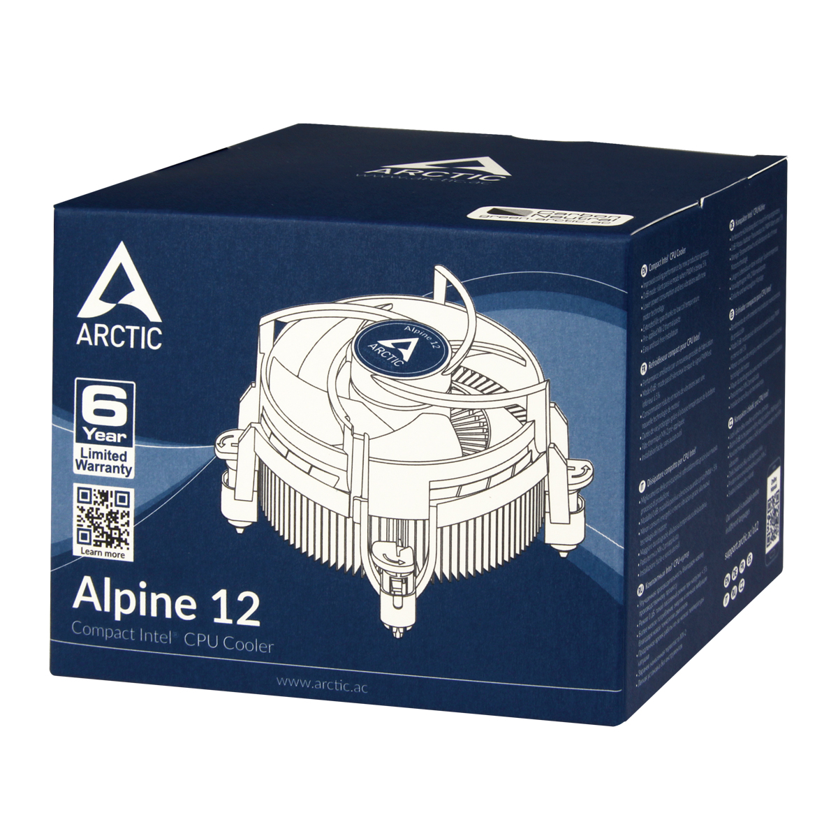Kompakter Intel CPU-Kühler ARCTIC Alpine 12 Produktverpackung Vorderansicht