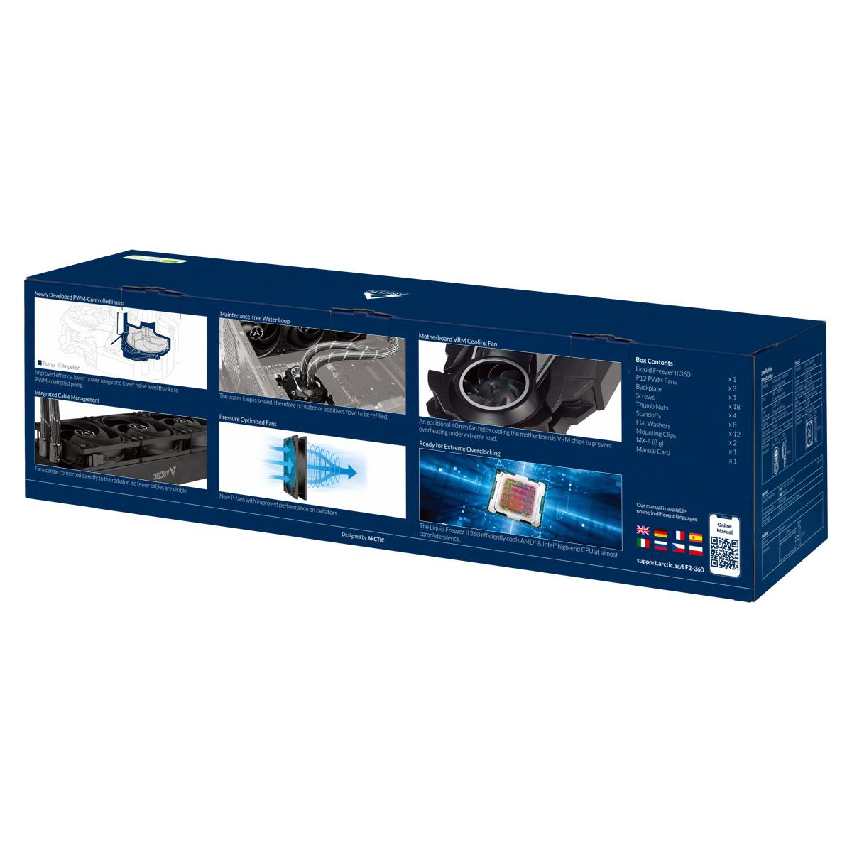Multikompatibler AiO CPU-Wasserkühler ARCTIC Liquid Freezer II 360 Produktverpackung Rückansicht
