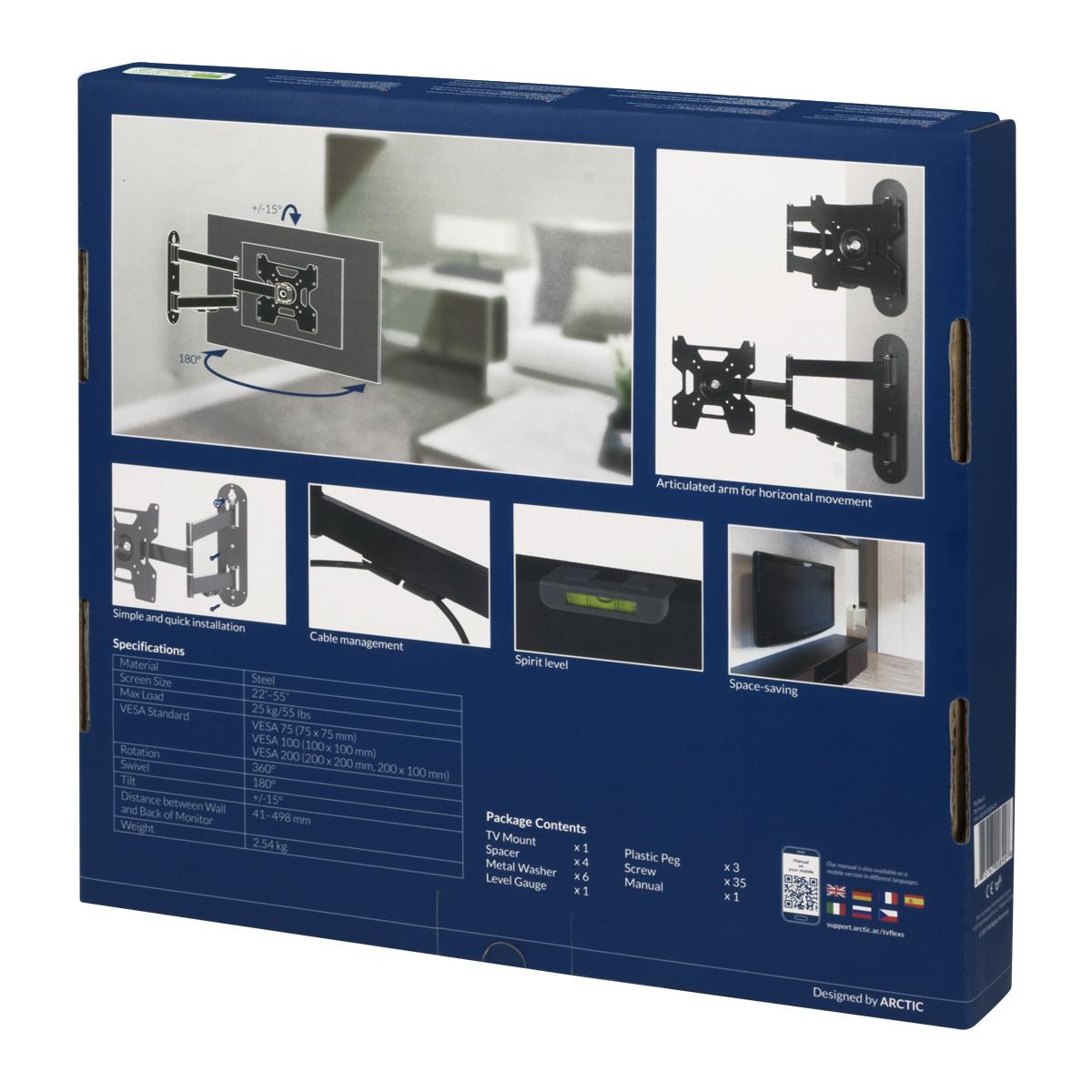 Vollbewegliche TV-Wandhalterung ARCTIC TV Flex S Produktverpackung Rückansicht