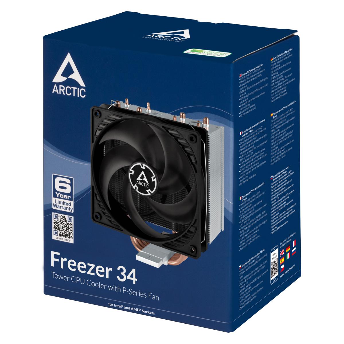 Tower CPU-Kühler mit 120 mm P-Lüfter ARCTIC Freezer 34 Produktverpackung Vorderansicht