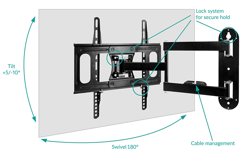 Flexible Adjustment with Full-Motion TV Wall Mount ARCTIC TV Flex M – Rotatable, Swivel, Tilt