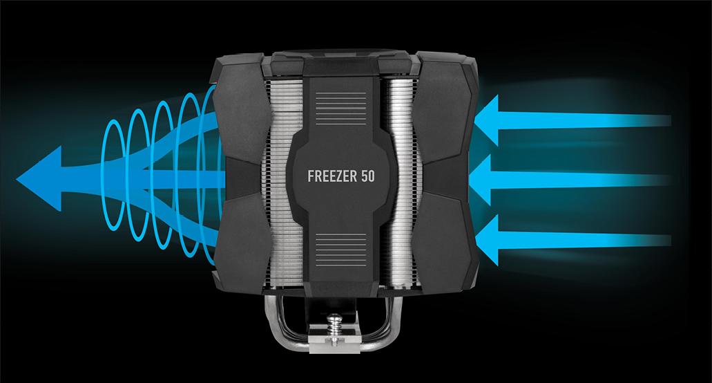 Multikompatibler Dual Tower CPU Kühler  ARCTIC Freezer 50 Luftzirkulation
