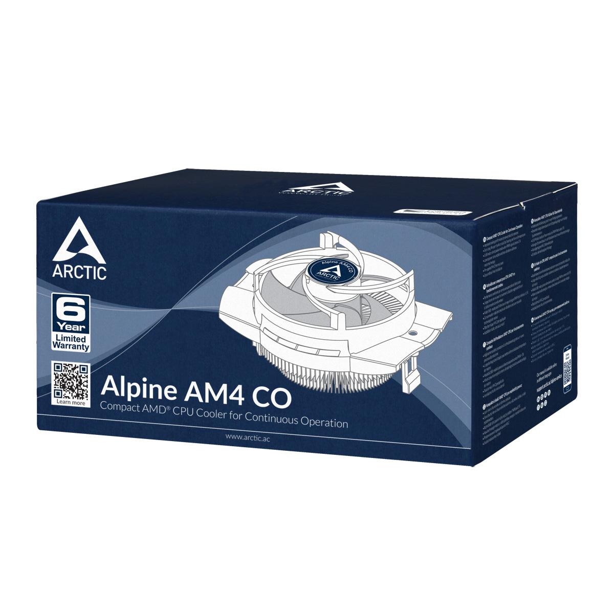 Kompakter AMD CPU-Kühler für Dauerbetrieb ARCTIC Alpine AM4 CO Produktverpackung Vorderansicht