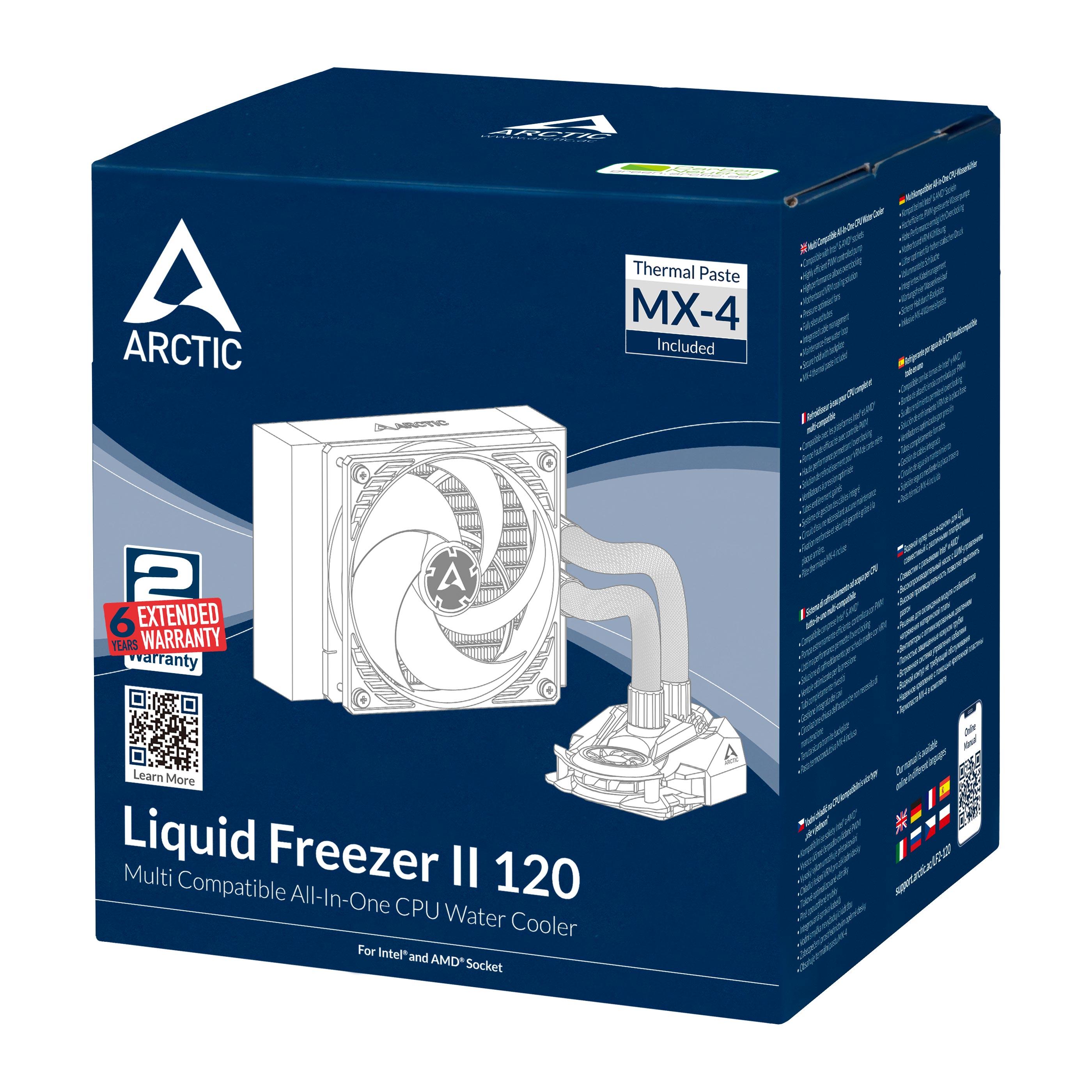 Multi-Compatible AiO CPU Water Cooler ARCTIC Liquid Freezer II 120 Packaging Front View