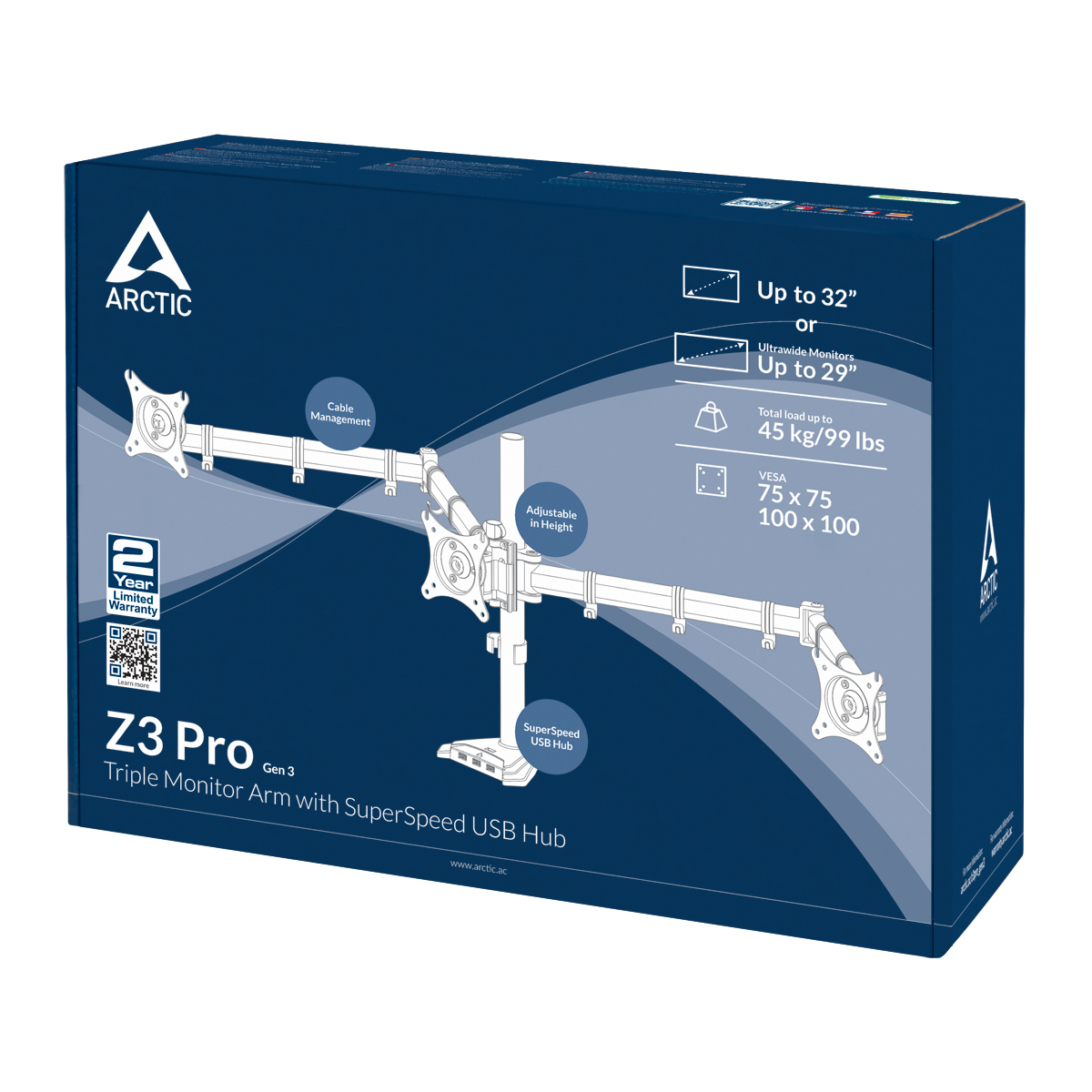 Desk Mount Triple Monitor Arm with SuperSpeed USB Hub ARCTIC Z3 Pro (Gen 3) Packaging Front View