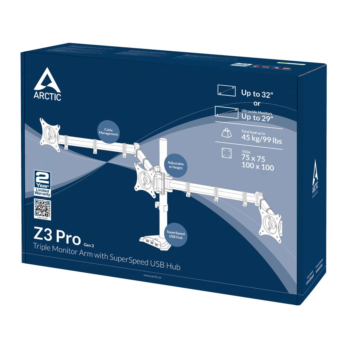 Dreifach-Monitorarm mit SuperSpeed USB-Hub ARCTIC Z3 Pro (Gen 3) Produktverpackung Vorderansicht
