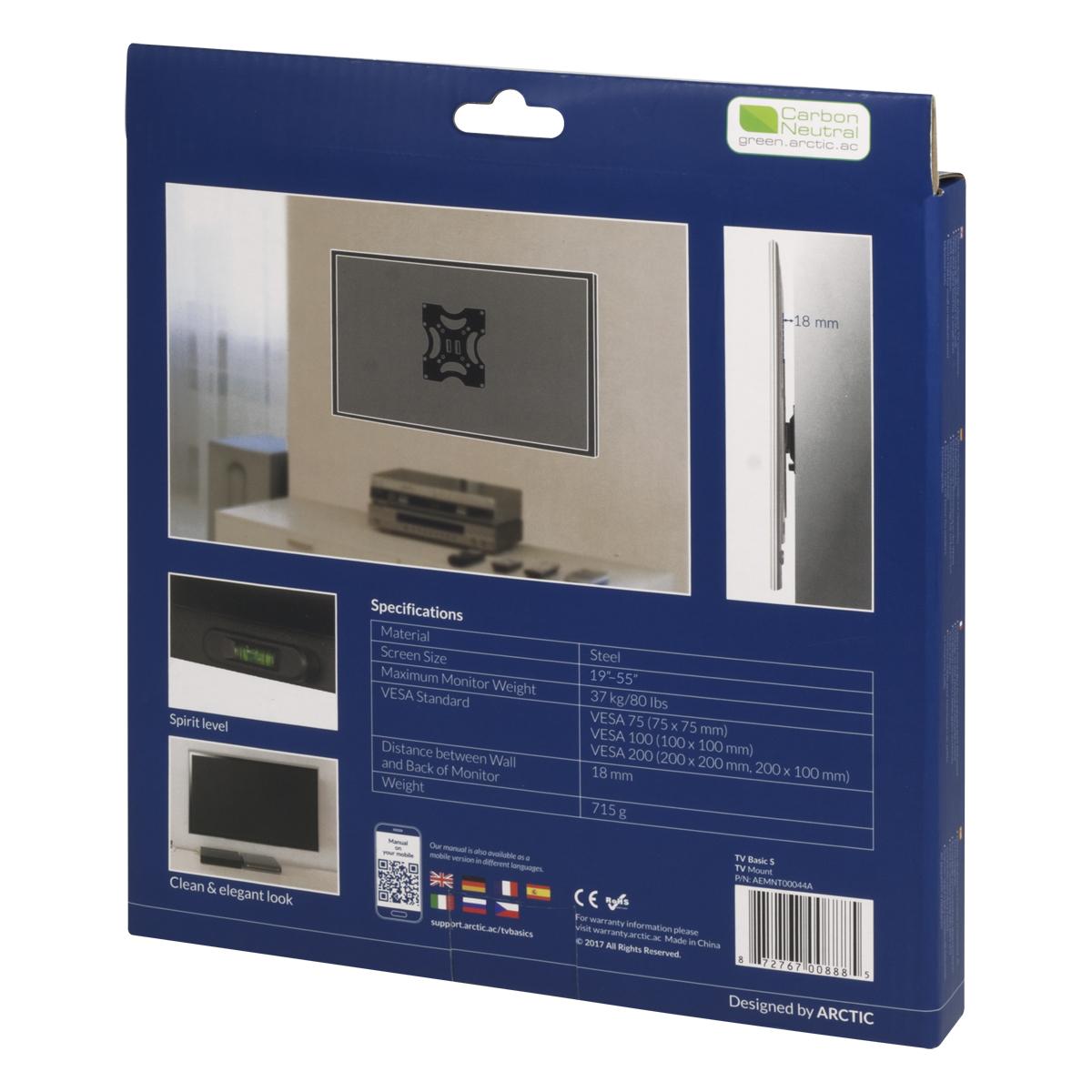 Flache TV-Wandhalterung ARCTIC TV Basic S Produktverpackung Rückansicht
