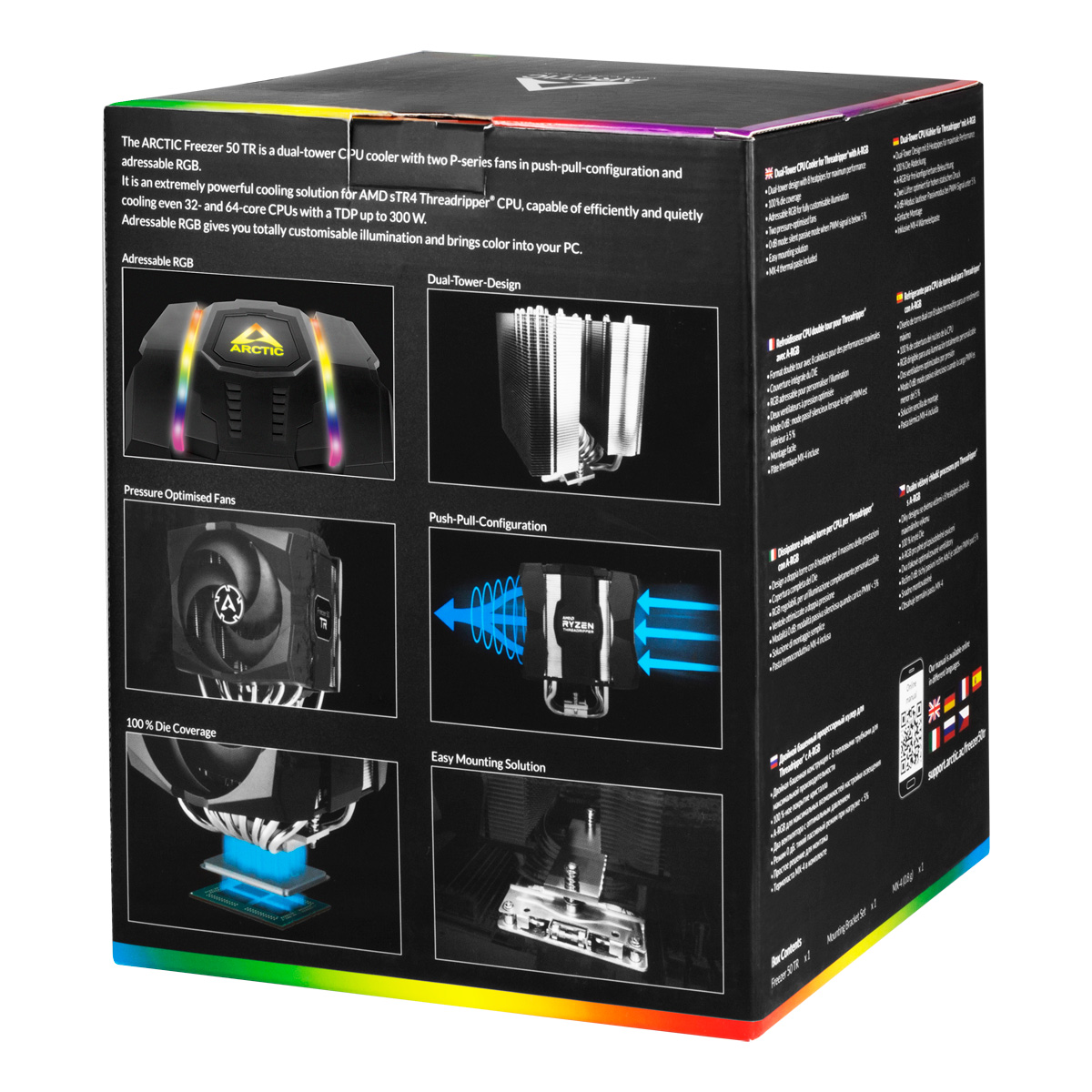 Dual Tower CPU-Kühler für AMD Ryzen™ Threadripper™ ARCTIC Freezer 50 TR Produktverpackung Rückansicht