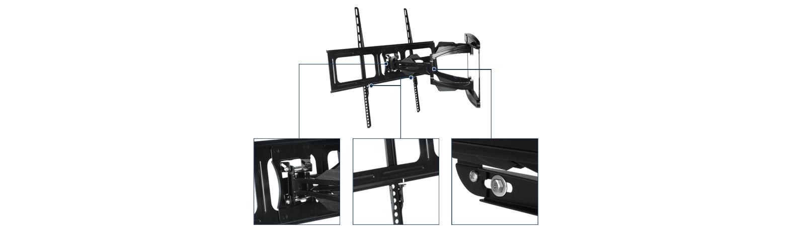 Vollbewegliche XL TV-Wandhalterung mit stabilem Halterungssystem ARCTIC TV Flex L