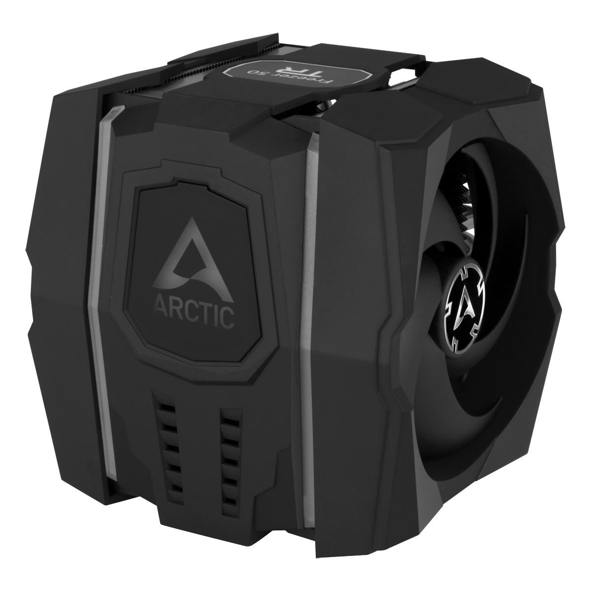 Dual Tower CPU-Kühler für AMD Ryzen™ Threadripper™ ARCTIC Freezer 50 TR Detailansicht Kunststoffabdeckung mit adressierbarer RGB-LED-Beleuchtung