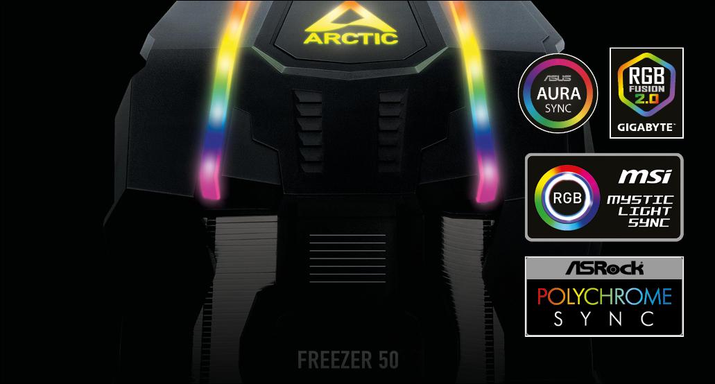 Multikompatibler Dual Tower CPU Kühler  ARCTIC Freezer 50 A-RGB für volle Farbenkontrolle