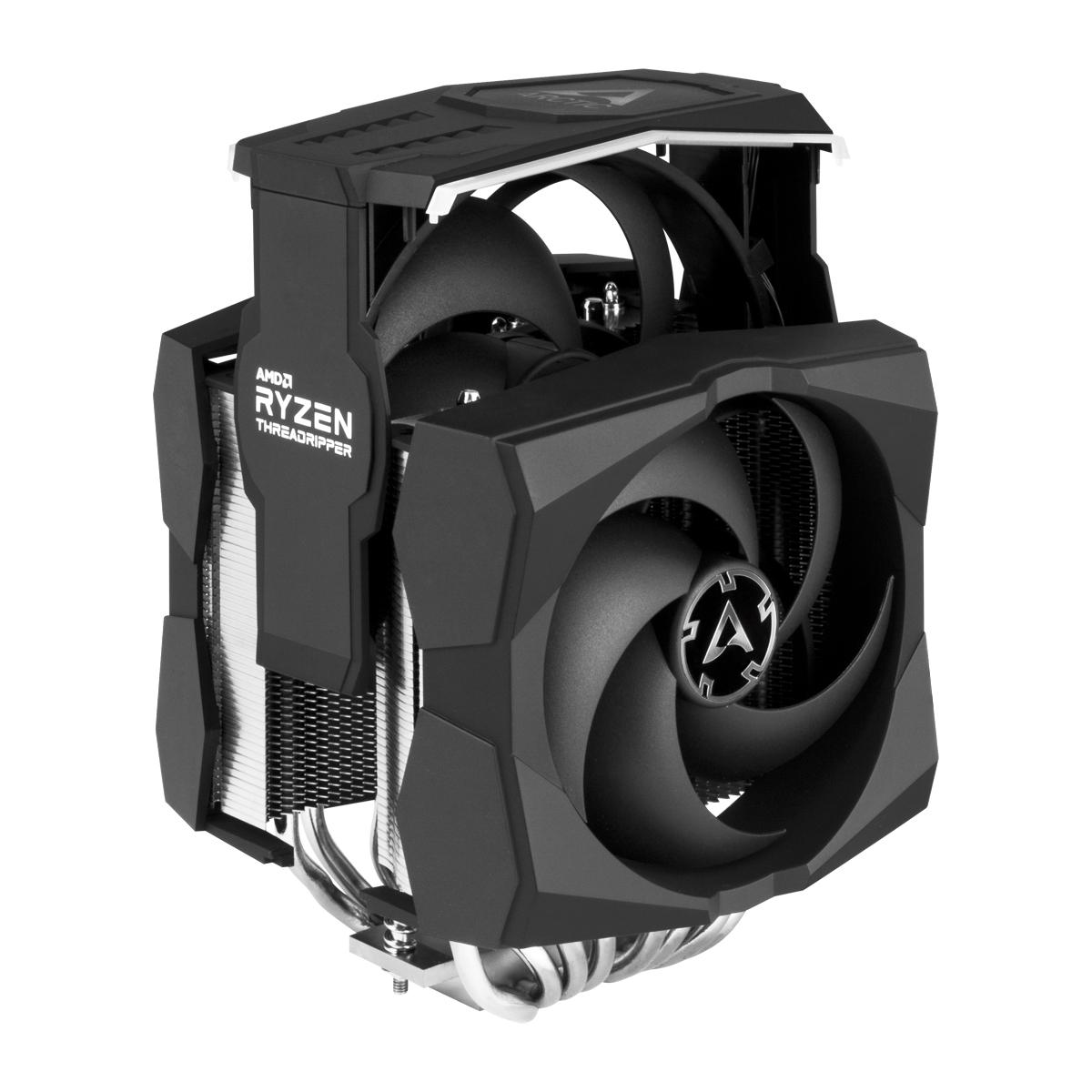 Dual Tower CPU-Kühler für AMD Ryzen™ Threadripper™ ARCTIC Freezer 50 TR Detailansicht eingesteckter 140 mm Lüfter