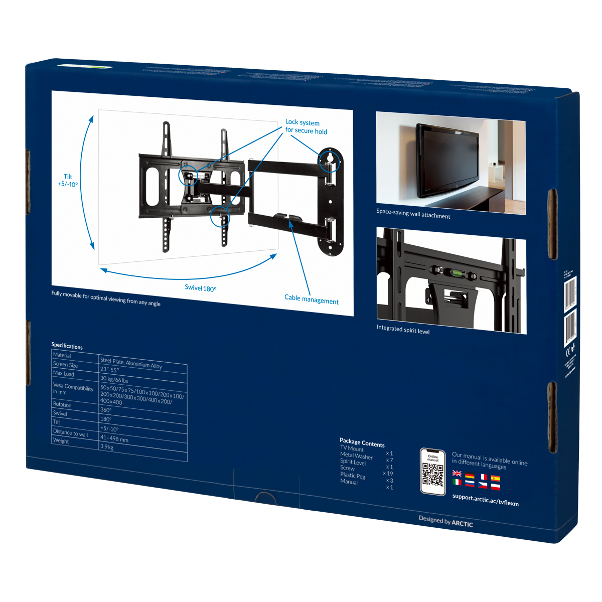 Full-Motion TV Wall Mount ARCTIC TV Flex M Packaging Rear View